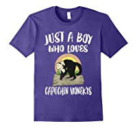 Just A Boy Who Loves Capuchin Monkeys T-shirt Purple