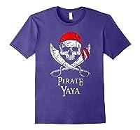 Pirate Yaya Skull And Crossbones Flag T-shirt Purple