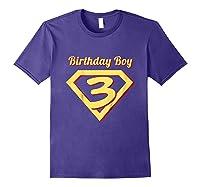 3rd Birthday Boy Gift Super Hero T-shirt Purple