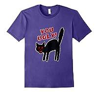 Funny Halloween Scary Black Cat Horror Gift Creepy Black Cat Shirts Purple