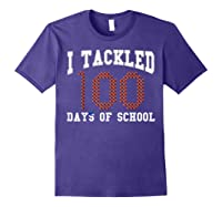 Funny Football 100th Day Of School Sports Out Tea Shirts Purple