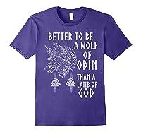 Vikings Wolf Rune Circle Wolf Of Odin Norse Mythology T-shirt Purple