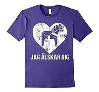 Scandinavian Valentine's Day Dala Horse Jag Alskar Dig Shirts Purple