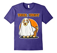Dog Ghost Halloween Party Trick For Treat Shirts Purple