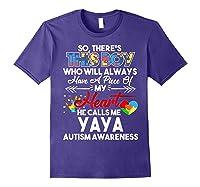 This Boy He Call Me Yaya Autism Awareness Shirts Purple