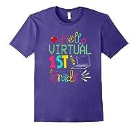 Funny Hello Virtual 1st Grade Gift Back To School 2020 Shirts Purple