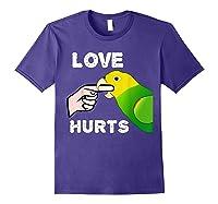 Love Hurts Yellow Head Amazon Parrot Biting Finger Shirts Purple