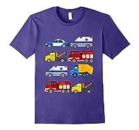 Emergency Vehicles Fire Truck Police Car Ambulance Tow Truck Shirts Purple