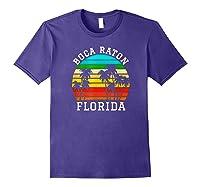 Boca Raton Florida Palm Trees Sunset Matching Vacation T-shirt Purple