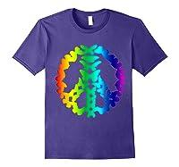 Butterflies Peace Sign Love Butterfly 60s Retro Hippie Gift T-shirt Purple