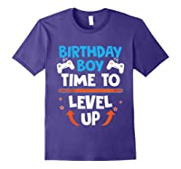 Birthday Boy Time To Level Up Video Game Gamers Gift T-shirt Purple