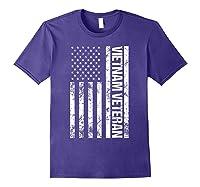 American Flag Vietnam Veteran T-shirt Purple