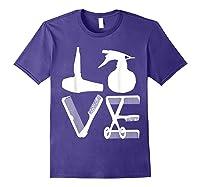 Hairdresser Love Hairdryer Scissors Barber Hair Brush Shirts Purple