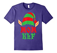Christmas Mom Elf T Shirt Family Pajamas Xmas Mother Elves T-shirt Purple