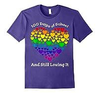 Funny 100th Day Of School Tea Heart Valentine Day Shirts Purple