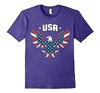 Patriotic American Flag Bald Eagle Usa T Shirt Purple