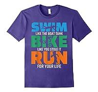 Swim Bike Run Triathlon Running Cycling Swimming Shirts Purple