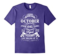 Vintage October 1945 75th Birthday Gifts For 75 Years Old Shirts Purple