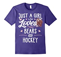 Just A Girl Who Loves Bears And Hockey Gift Bear T-shirt Purple