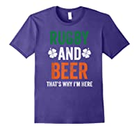 Rugby And Beer Funny Alcohol Outs For St Patricks Day T-shirt Purple