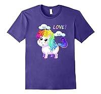 Unicorn Lgbt Gift Rainbow Gay & Lesbian Love Sweet Premium T-shirt Purple