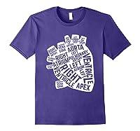 Anatomical Heart Cardiac Nurse Parts Of Heart Shirts Purple