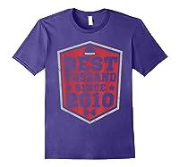 9th Wedding Anniversary Gift 9 Yrs Best Husband Since 2010 Shirts Purple