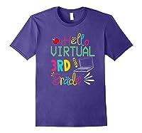 Funny Hello Virtual 3rd Grade Gift Back To School 2020 Shirts Purple