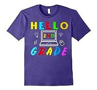 Hello 2nd Grade Tea Back To School Online Teaching T-shirt Purple