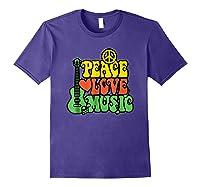 Peace Love Music Reggae Guitar T-shirt For Everyone Purple