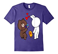 Brown Bear Cony Bunny Rabbit Engaget Ring Marriage Fiance Shirts Purple