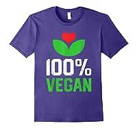 Proud 100 Vegan Vegetarian Vegetables Plant Lover Heart Shirts Purple
