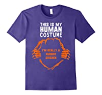 This Is My Human Costume I'm Rubber Chicken Halloween Shirts Purple