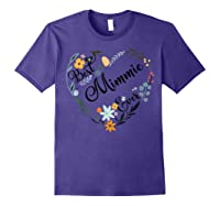 Best Mimmie Ever Heart Flower Blessed Grandma Mother's Day Shirts Purple
