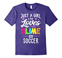 Just A Girl Who Loves E And Soccer Gift Shirts Purple
