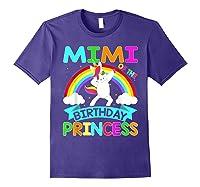 Mimi Of The Birthday Princess T-shirt Dabbing Unicorn Gift T-shirt Purple