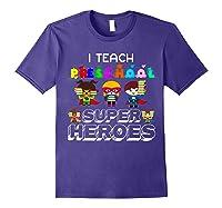 I Teach Preschool Superheroes T-shirt Purple