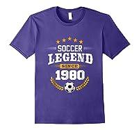 Soccer Legend Since 1980 Birthday Gift Futbol Shirts Purple