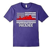 Phoenix Firefighter Red Line Skyline American Flag Hero Shirts Purple