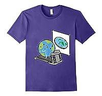 Flat Earth Workout Conspiracy Theory T-shirt Purple
