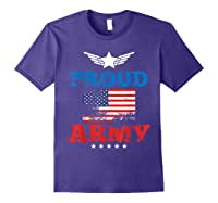 Proud Army American Soldier Air Flag Honor Gift T-shirt Purple
