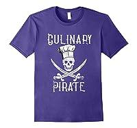 Fun Culinary T-shirt Vintage Culinary Pirate Skull Chef Hat Purple