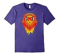 Lion Head Golden Head Phones Shirts Purple