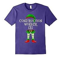 Construction Worker Elf Matching Family Christmas Design Shirts Purple
