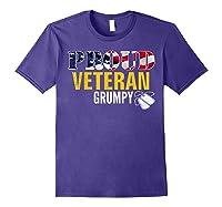 Proud Veteran Grumpy With American Flag Veteran Day Gift Shirts Purple