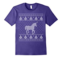 Unicorn Ugly Christmas Sweater, Funny Holiday Gift Shirts Purple