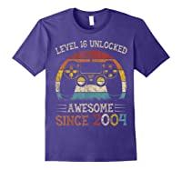 Vintage Video Level 16 Unlocked Gamers 16th Birthday Gifts Shirts Purple