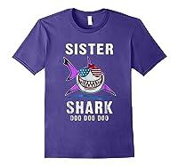 Sister Shark Shirt Doo Doo - Shark Sunglasses Flag America Purple