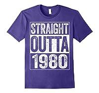 Straight Outta 1980 40th Birthday Gif Shirts Purple
