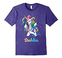 Name Rainbow Unicorn Dabbing Shirts Purple